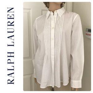 New Ralph Lauren White Cotton Popover Shirt Size L
